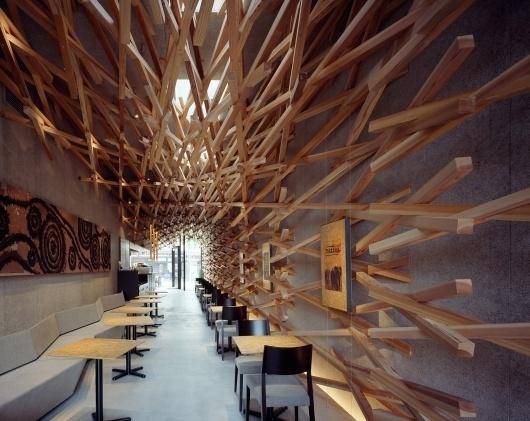 Starbucks Coffee at Dazaifutenmangu Omotesando | kengo kuma and associates #interior #design #starbucks