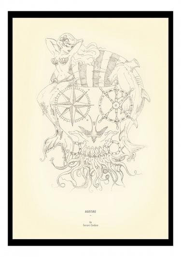 Illustration by Tuscani Cardoso #candy #illustration #tattoos #tuscani #marine #skull #sketch #nautical