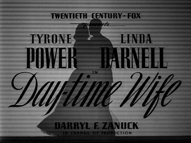 Day-time Wife (1939) Title Card #movie #lettering #title #card #vintage #type