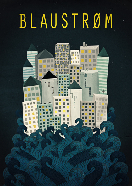 Michelle Carlslund Illustration: Blaustrøm #ocean #nordic #band #houses #sky #city #danish #blaustrm #roofs #night #waves #illustration #sea #stars #scandinavian #poster #music #copenhagen #light #berlin