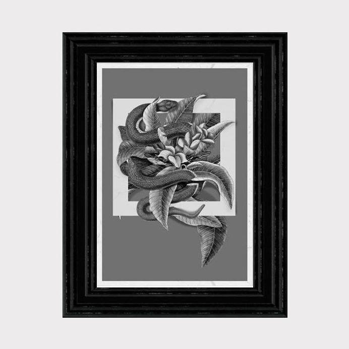 Vintage collage 30x42 cm #print #salmon #snake #square #vintage #poster #flower #collage