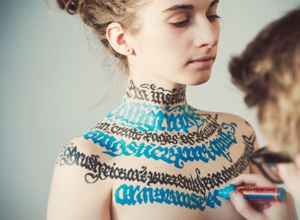 Calligraphy on Girls #calligraphy #model #lettering #girls #art #hand #typography