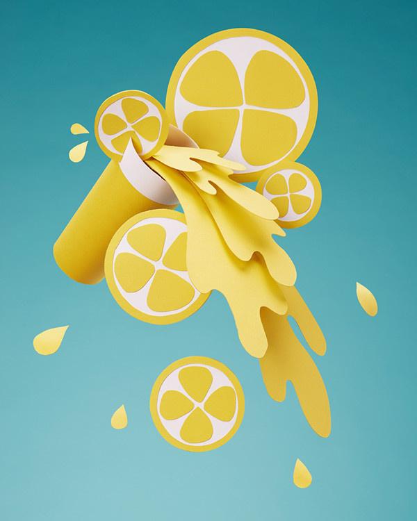 Paper lemonade on Behance #lemonade #summer