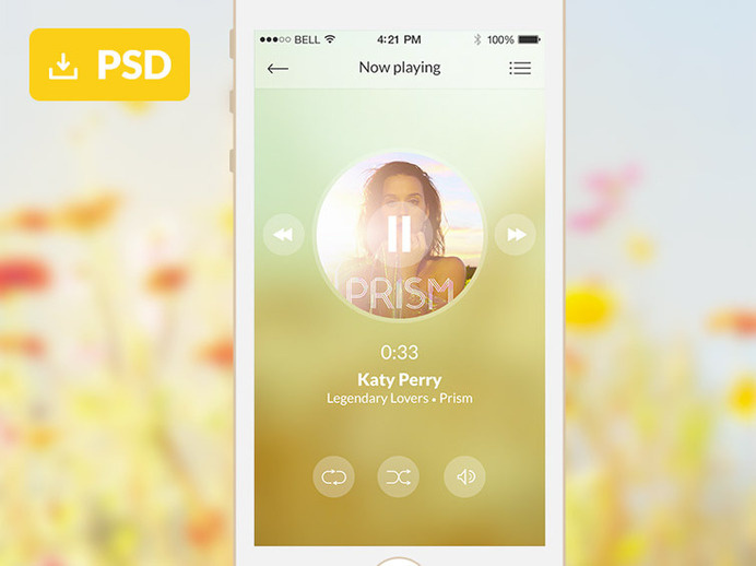 Mobile Music Application Freebie PSD
