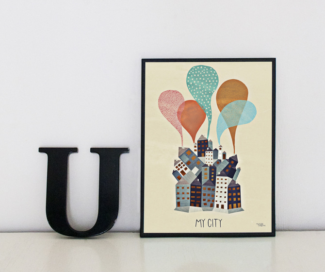#nordic #design #graphic #illustration #danish #bright #simple #nordicliving #living #interior #kids #room #poster #city #houses #town