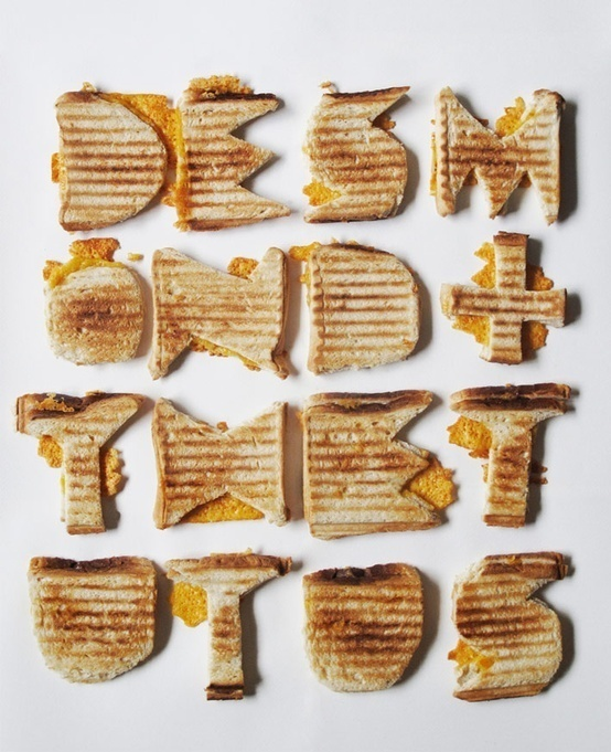 type made out of toasted cheese sandwiches :) #food #typography