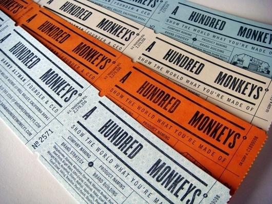A Hundred Monkeys : mCroxton Design #tickets #letterpress #screenprint