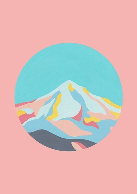 Mountainscape in Dusty Pink by The Adventures Of Co. #illustration #painting