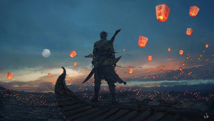 Sky Lanterns by wlop #digital #illustration #fantasy #art
