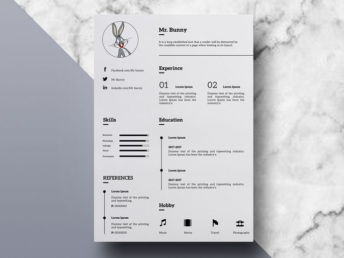 Bunny Resume - Free Clean Minimal Resume Template