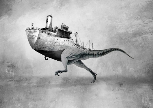 Nicky Engelen: Dinosaur Ship | Colossal #white #black #illustration #ship #reptile #boat #and #dinosaur