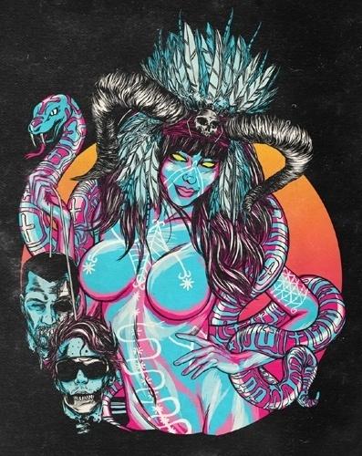 Magia_Negra_notext.jpeg (Image JPEG, 397x500 pixels) #pop #feather #illustration #boobs #horny #horn #satanic #bitch
