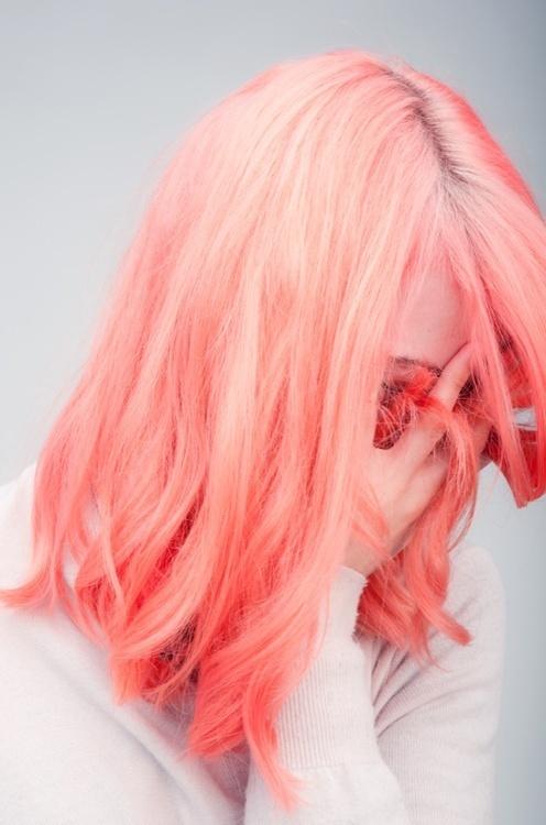 hair #pink #coloured #white #hair