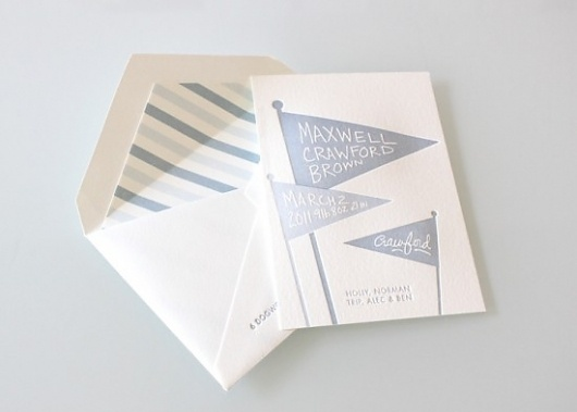 Cute Modern Letterpress Baby Announcements | Oh So Beautiful Paper