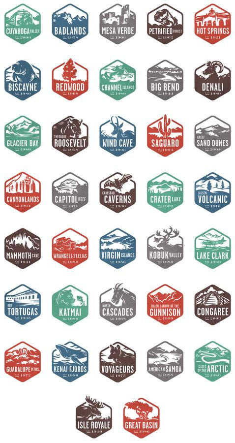 Nat Geo Badges by Valerie Jar #geographic #jar #valerie #badges #parks #national