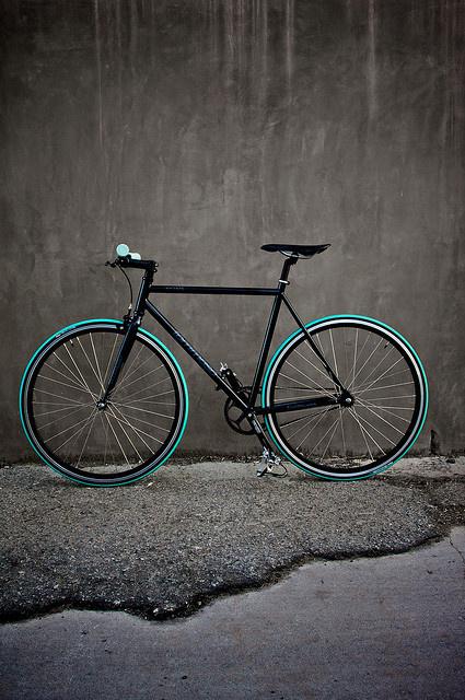 black bike #wheels #concrete #black #bike #green