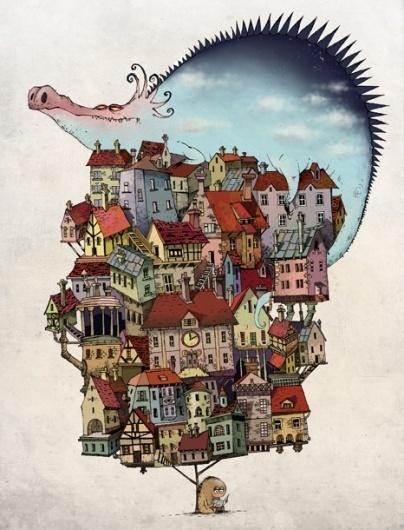 Aleksei Bitskoff Portfolio #monster #illustration #house #tree