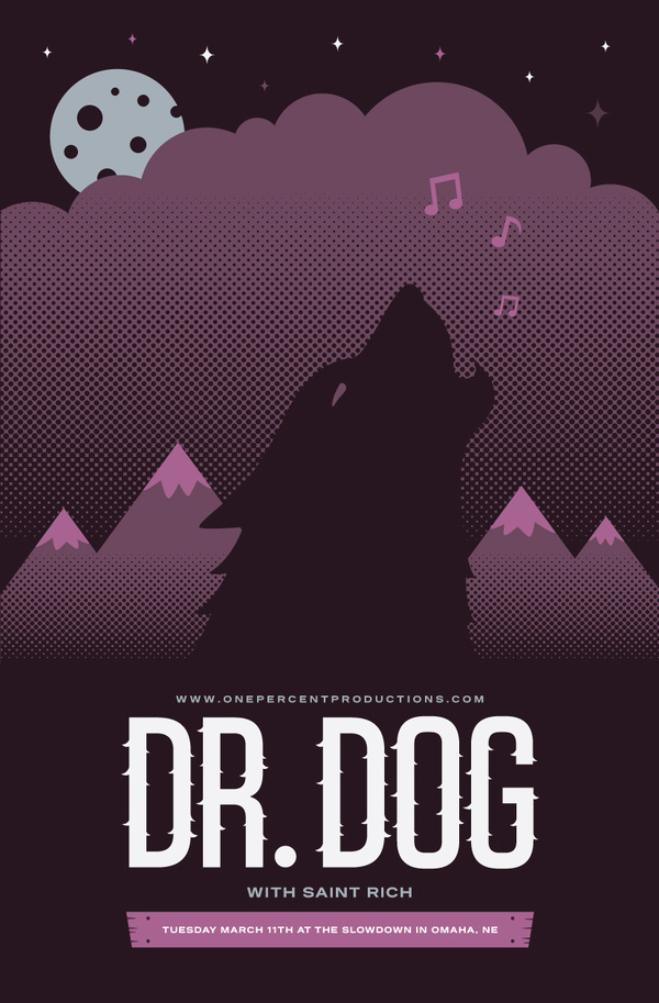 Grain & Mortar #halftone #vector #gig #illustration #poster #wolf #music