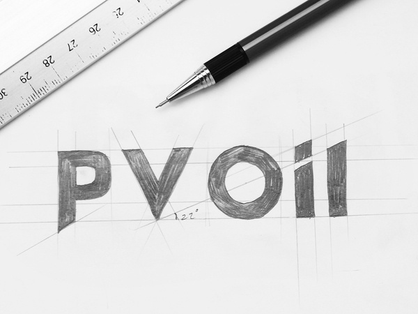 Logotype sketch ( WIP ) Client: PV OIL Branding Agency : Bratus #vietnam #logotype #kerning #gird #petro #sketch #typeface #logo #pv #bratus #oil