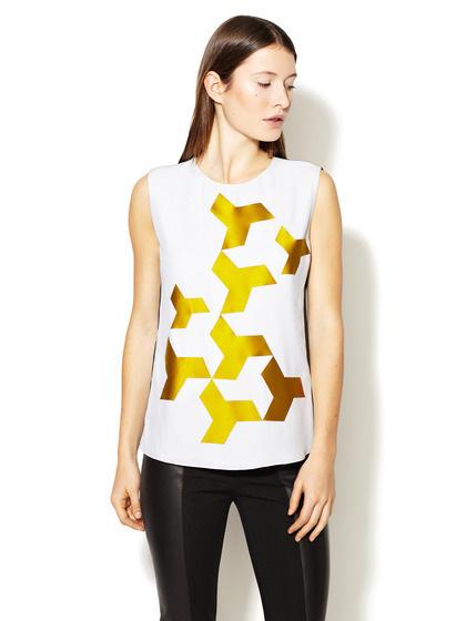 Geometric Applique Silk Top #shapes #geometric #shirt #silk #fashion
