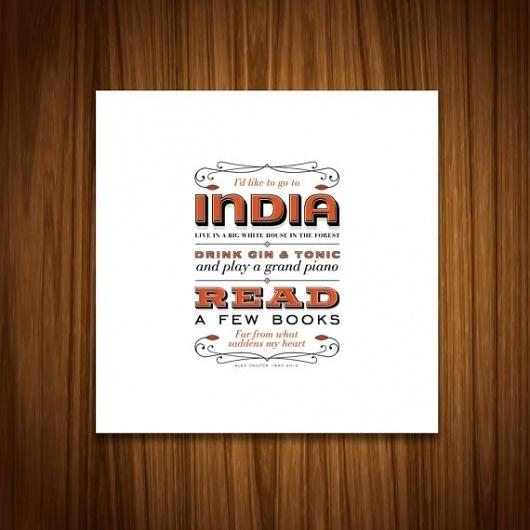 India Print by handdrawncreative on Etsy #quote #india #orange #wood #type #typography