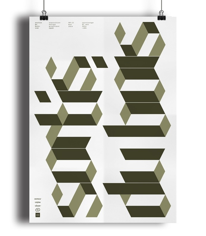 UQAM Sortis du bois Exhibition poster #uqam #geometric #exhibition #wood #poster #type #typo #typography