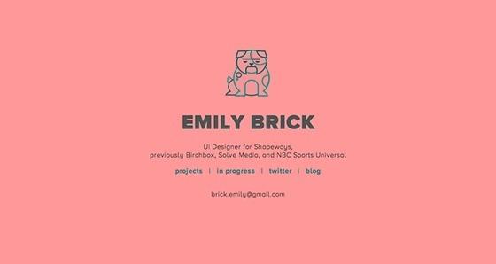 Emily Brick website #homepage