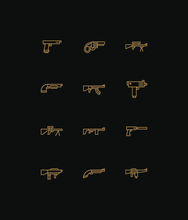 Icons on the Behance Network #guns #icons
