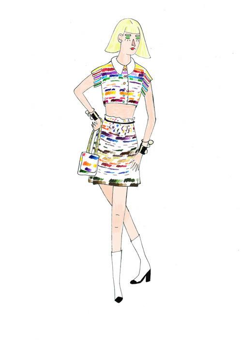 fashion illustration -chanel #woman #girl #illustration #colors #chanel #fashion