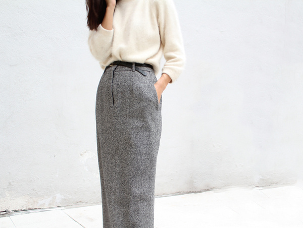 vanillascented #wool #skirt #grey