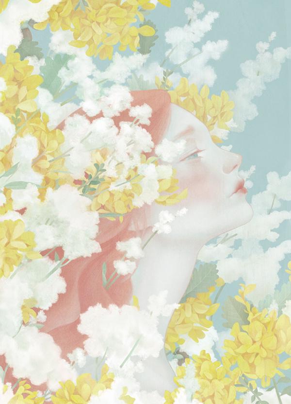 Selected Portraits II on Behance #clouds #girl #design #illustration #portrait #art #flowers #beauty
