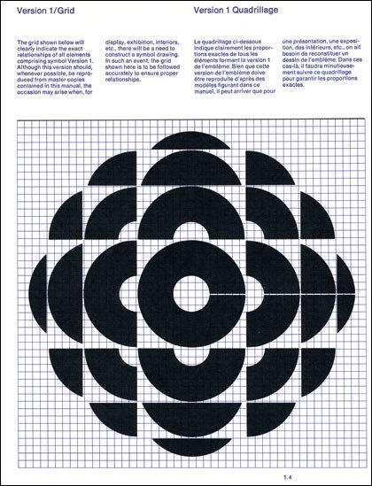 Burton Kramer — Canadian Broadcasting Corporation logo grid (1974) #design #poster