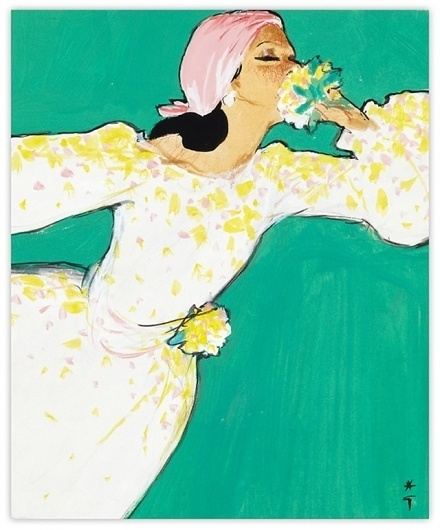 International Textiles cover No. 482, II 1972 | MODESQUISSE #rene #gruau #illustration #fashion #green