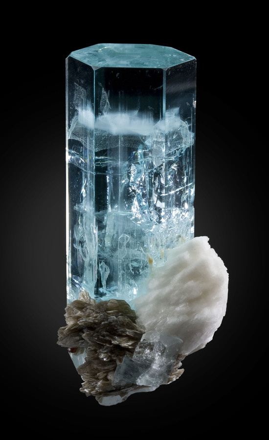 Aquamarine with cleavelandite and muscovite; Pakistan #muscovite #aquamarine #cleavelandite #pakistan