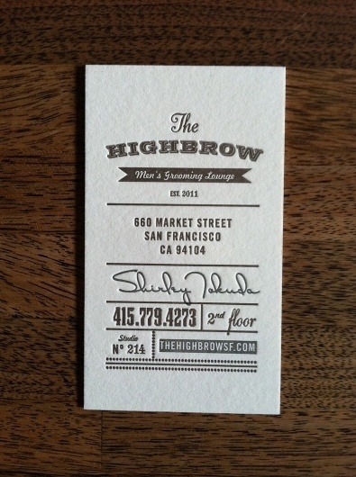 FPO: Highbrow Men's Grooming Lounge Business Cards #western #business #card #letterpress #retro #typography