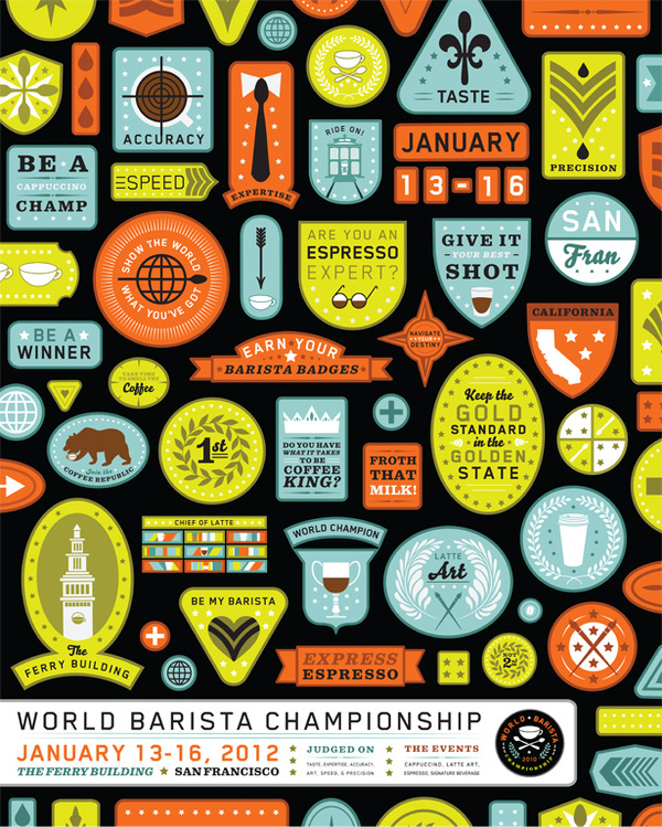 The World Barista Championship Thornographic Design #logo #badge #barista #poster