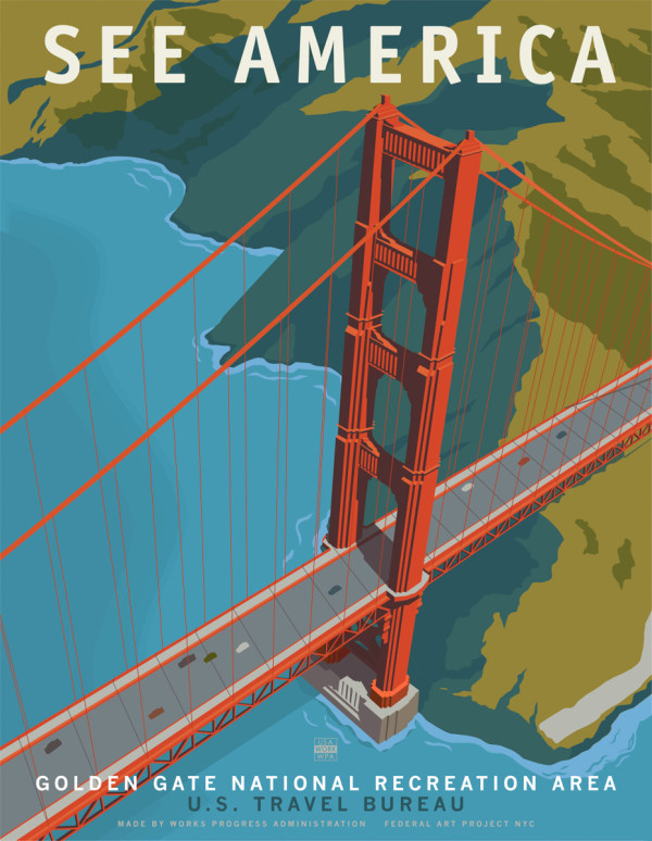 US Travel Posters by Steven Thomas for Print Collection in art Category #height #journey #exploration #san #travel #illustration #posters #francisco #america #promotion #engineering #bridge