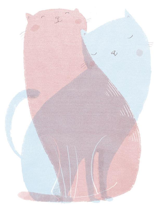 Cuddle Cat by Ina Hattenhauer: Hallo Heute #illustration #cat #ina hattenhauer #hallo heute