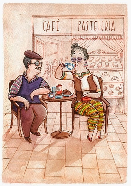 Zaczarowana Walizka #couple #spain #cafe #illustration #coffee #postcard #pastry #watercolour