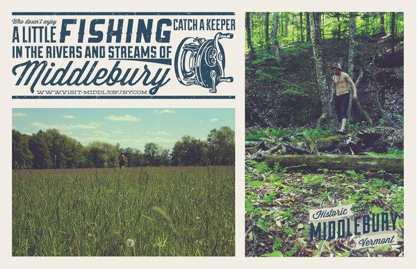 Middlebury, Vermont   Fishing Poster #tourism #middlebury #challenge #design #vermont #brown #john #poster #aiga