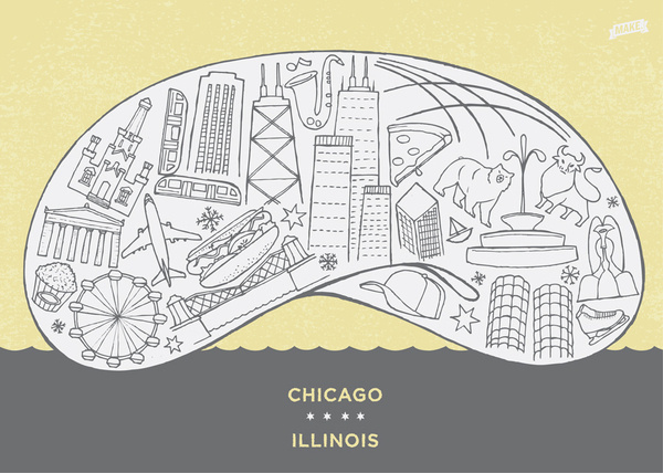 Chicago by Jesse Hora for Global Yodel #hora #chicago #travel #the #culture #jesse #bean #cloudgate #postcard #local