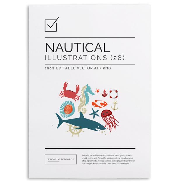 Nautical Clip Art & Illustration Vector Set $16.00