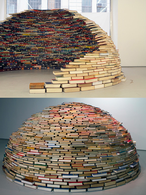 via this isn't happiness: Home by Colombian artist Miler Lagos (http://www.thisiscolossal.com/2012/04/a-dome-of-books/?utm_source=feedburne #installation #books #contemporary #architecture #art
