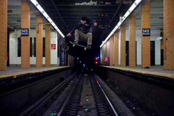 Image of The New York Times Highlights New York Skate Photographer Allen Ying #woa #times #underground #daredevil #photograph #subway #tracks #york #skateboard #new