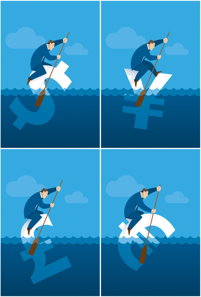 Pedro J. Bernal Financial concept for microstocking. #oar #paddle #illustration #concept #swim #stock #blue #money