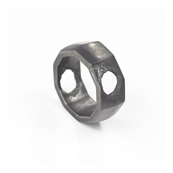 Via Napoli Ring oxidised silver | SMITH/GREY #mens #accessories #white #b&w #silver #damaged #black #texture #jewellery #men #jewelry #and #fashion #ring #grey