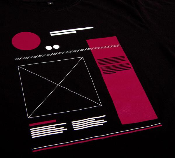 NATRI - T-Shirt (black): WIREFRAME - PAGE LAYOUT #silkscreen #apparel #modern #print #design #graphic #shirt #minimal #wireframe #fashion #layout #typography
