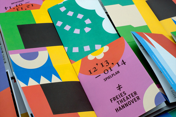 Programme with bright illustrative detail for Freies Theater Hannover by Bureau Hardy Seiler #branding #identity #colour #kids #shapes