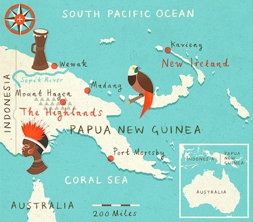 zara picken illustration papua new guinea map #maps #illustation