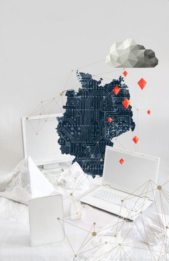"https://www.behance.net/gallery/publicateur newspaper 01 Illustration and layout/11980281 ""cloud computing"" ""data security"" germany, IT #computer #security #cloud #installation #germany #cover #technology #illustration #rain #it #handelsblatt #computing #data #papercraft #magazine"